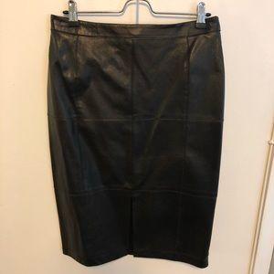 White House Black Market Skirts - WHBM Black Leather Pencil Skirt